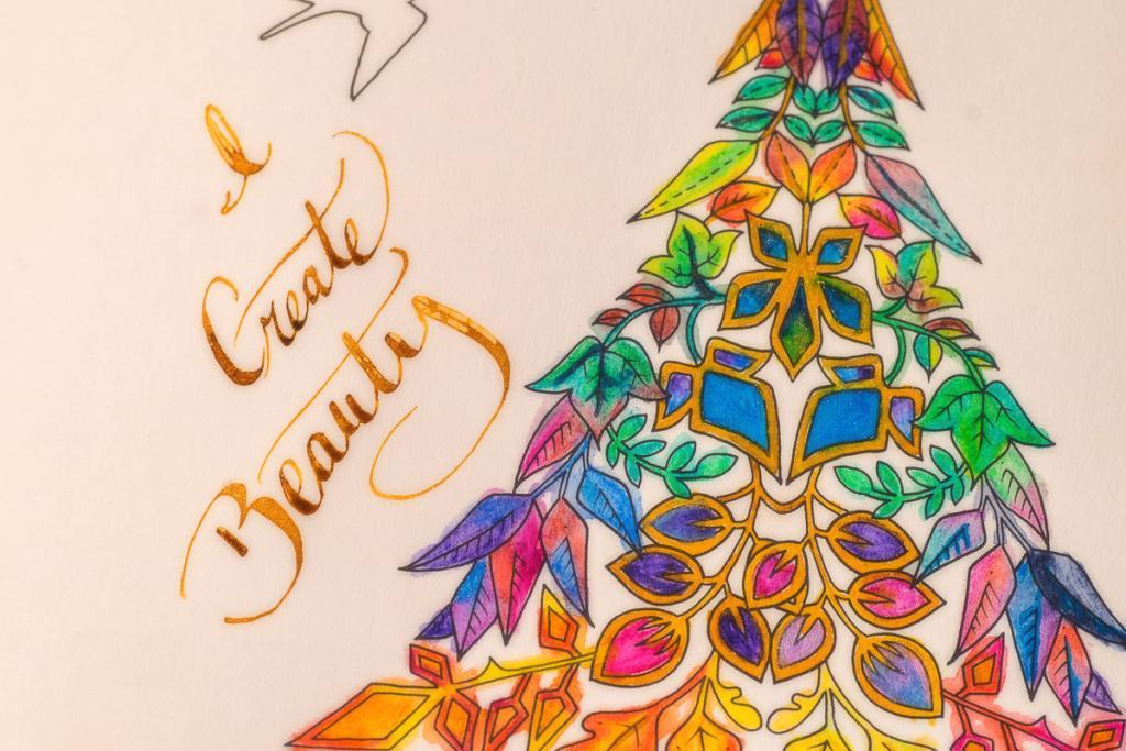 "A watercolor image with gold lettering ""I create Beauty"" as a creativity and spirituality reminder"