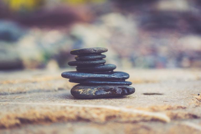 stack of tiny black rocks