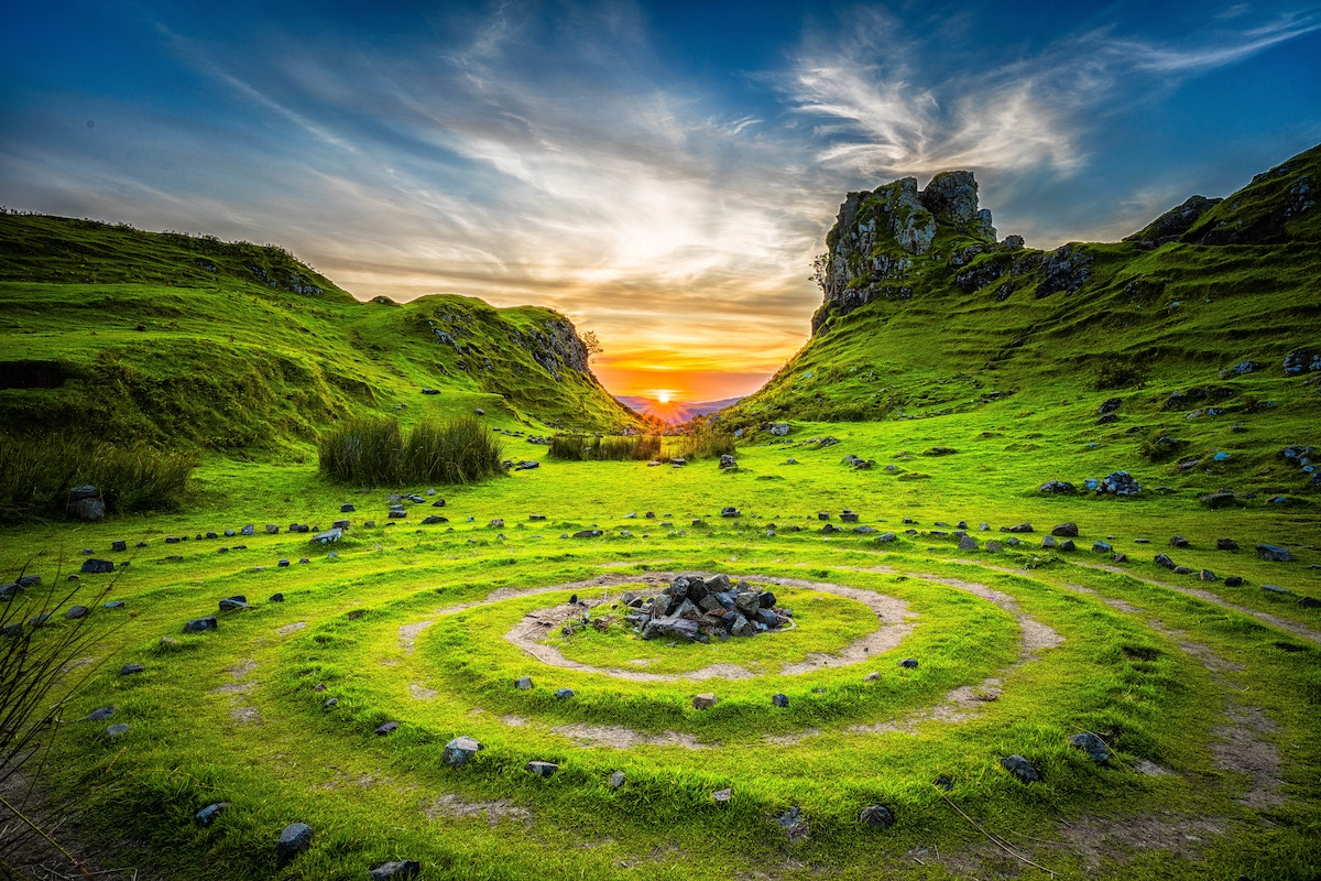 Ring of standing stones at sunrise
