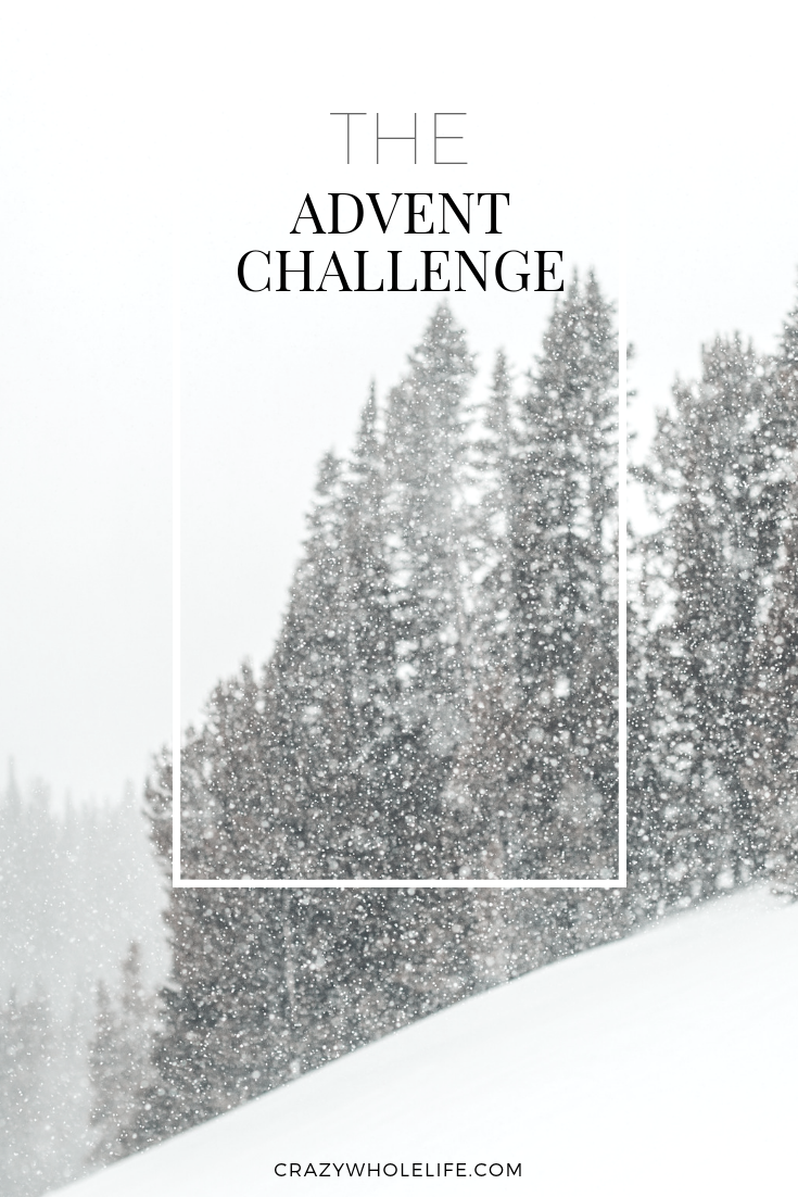 """Snow falling on pines with the words """"The Advent Challenge"""""""
