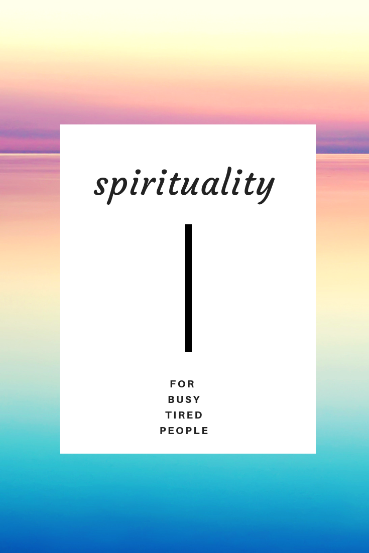 Spirituality for busy tired people on a white background