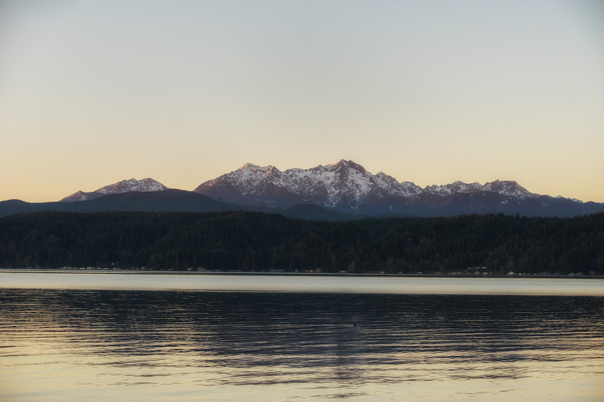 Mountains over the hood canal at sunset