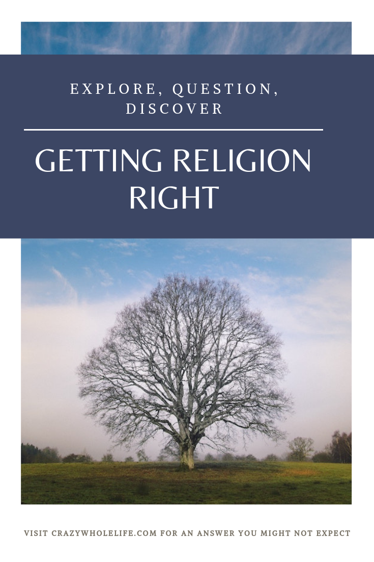 An oak tree stands alone in a field. Caption: Explore, Question, Discover; Getting Religion Right