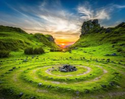 Sunrise over an ancient stone circle