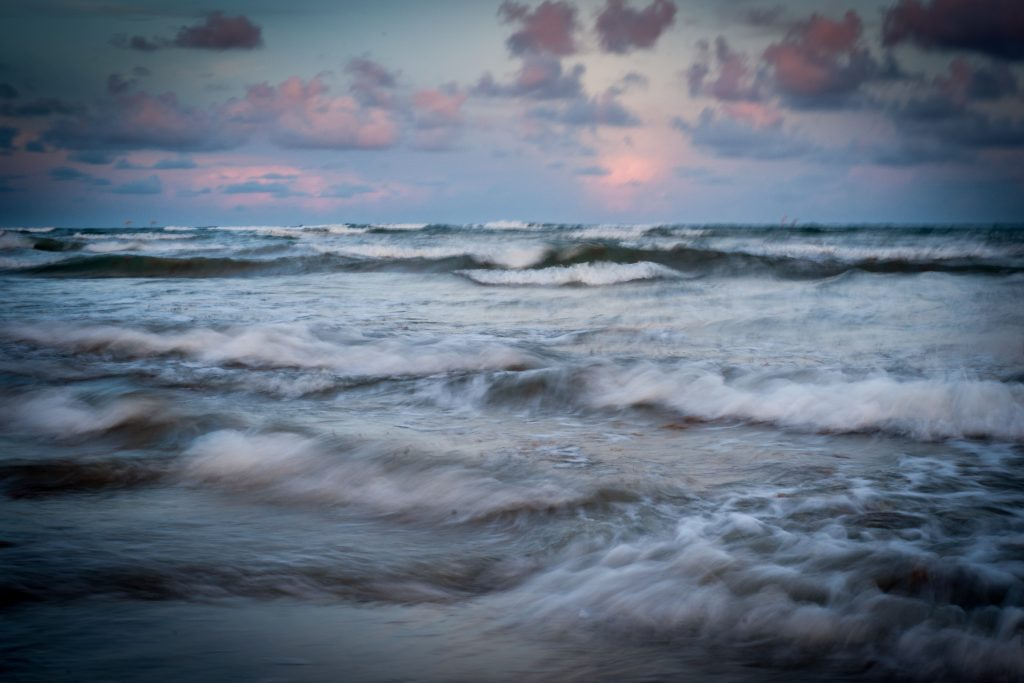 Long exposure image of chaotic surf